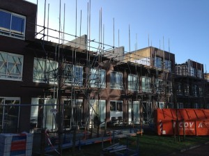 The 'build on' of 9 excisting dwellings in Amsterdam. Building phase.