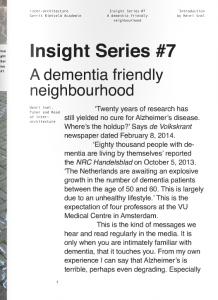 Insight series #7, a research on a dementia friendly neighbourhood