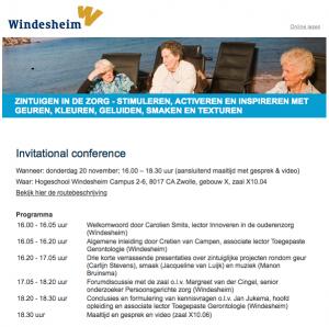 Conferentie 'zintuigbeleving in de zorg': stimuleren, activeren en inspireren met geuren, kleuren, geluiden, smaken en texturen (Dutch)