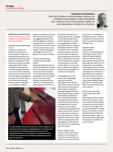 In de Architect van september 2015 een bijzondere bijdrage over Evidence Based Design met o.a. Henri Snel over Alzheimer en Architectuur (Dutch)