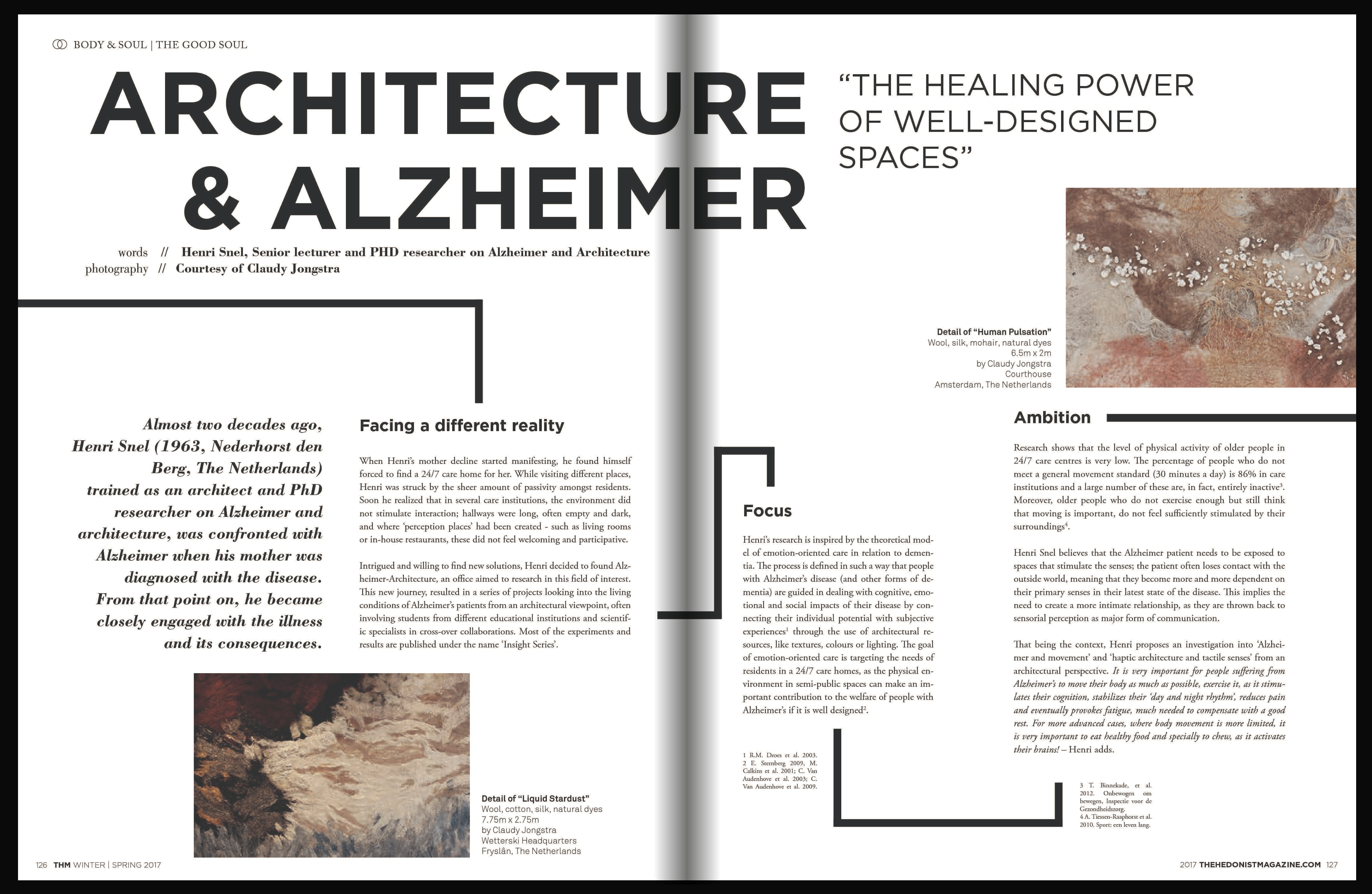 Healing Spaces For a Better Life, interview in the Hedonist magazine