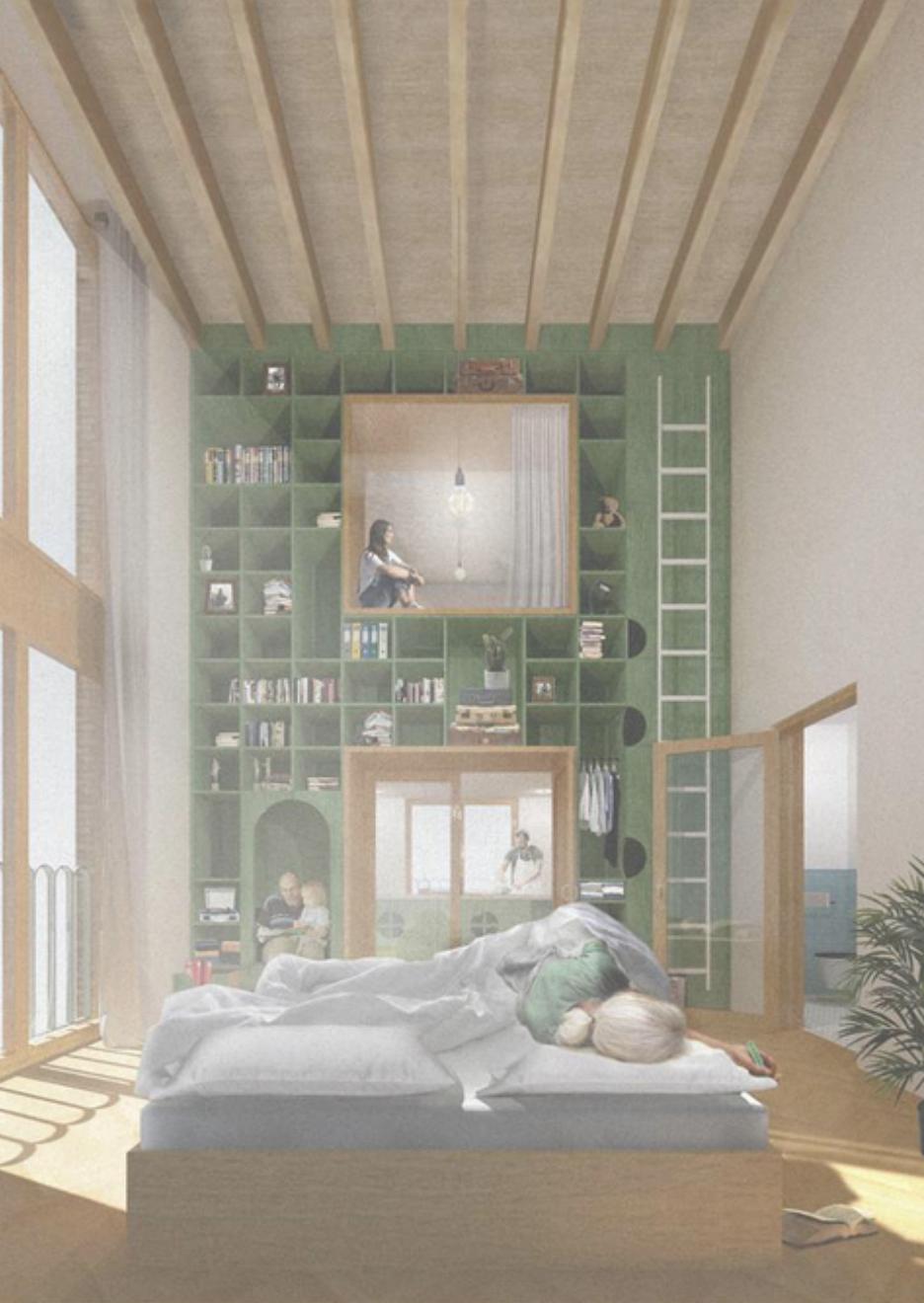 Christiaan Schuit's afstudeerproject 'van kamer tot kamer', gaat over een nieuwe inclusieve woonomgeving met aandacht voor mensen met dementie en hun naasten (2018)
